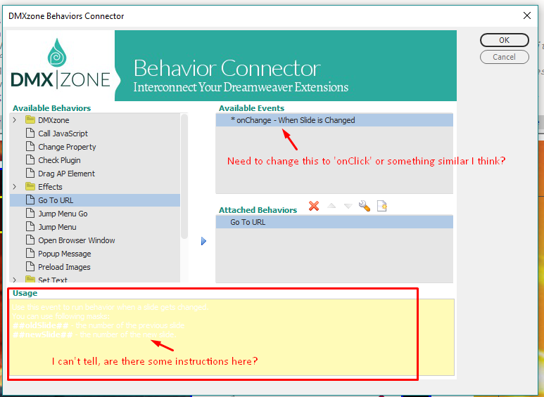 How do I use Behavior Connector with this to add links to slides